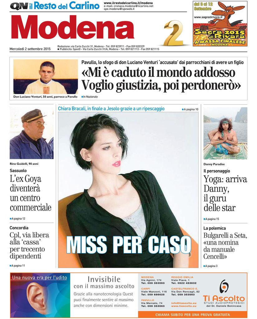Prima Pagina Resto Del Carlino Modena 2 sett