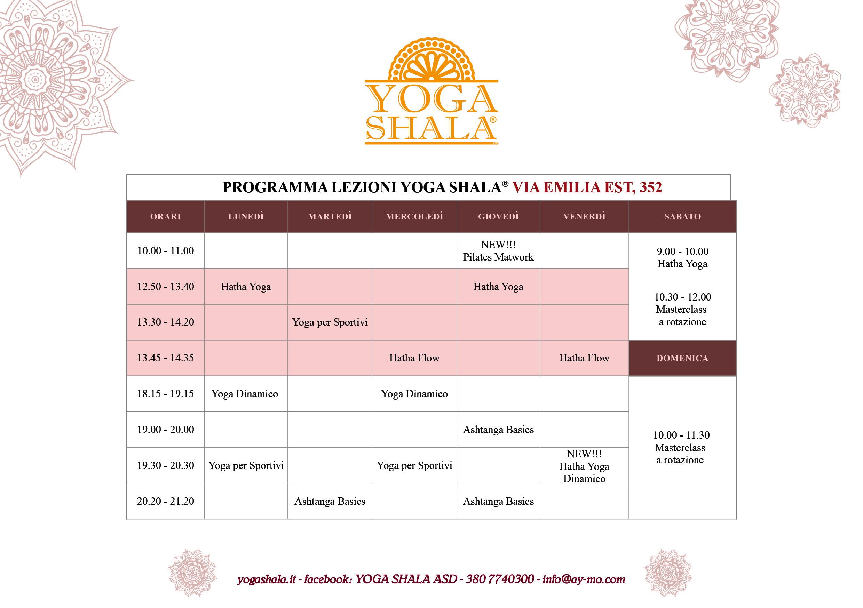 Orario Yoga Shala aggiornato